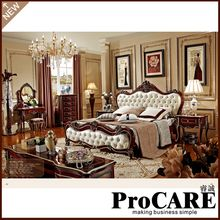 European Leather 1.5 1.8 Meters Double Bed French Princess Bedroom Furniture