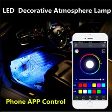 APP Manage High Power Car Interior LED Decorative Light with RGB Auto Music Light LED Strip Light Atmosphere Lamp Kit Foot Lamp(China)