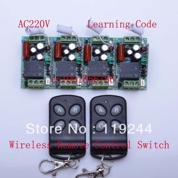315Mhz/433Mhz 4 Receivers(Mini size)+2Transmitter RF 220V 4CH Wireless Remote Control Power Switch System For LED Light Lamp<br>