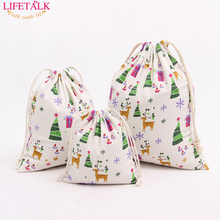 3PCS/SET Free Shipping Fashion Cotton Fabric Drawstring Bag Home Decorating Gift Organizer Christmas Candy Gift Storage Bags