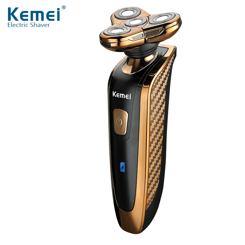 Kemei New 4 Heads Washable Rechargeable Electric Shaver Triple Blade Electric Shaving Razors Men Face Care 4D Floating<br>