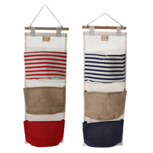 Navy Wall Hanging Storage Bag Vintage Jute Sundries Organizer Closet Bag Home Decoration Storage Bags E5M1(China)