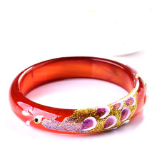 Natural Red Chalcedony Bangles Carved Peacock Coloured Drawing Shell Inlay Round Bracelets Gift for Women Jades Jewelry