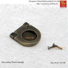 wholesale10pcs zinc alloy Antique Brass furniture handle and knob, cabinet flush handle(China)