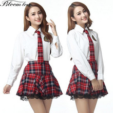 E605 Student Uniform Classical Plaid Printed School Girl Uniform Sexy Costume Clothes White Shirt+Red Crossed Dress