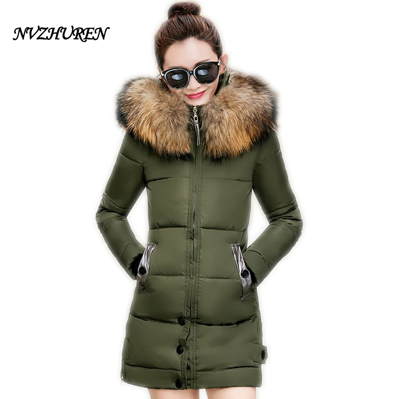 NVZHUREN Winter Jackets Women Wide Waist Plus Size Cotton Coat Long Outerwear Fur Collar Hooded Padded Winter Warm ParkasÎäåæäà è àêñåññóàðû<br><br>