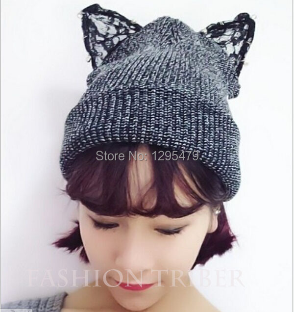 New Arrival Cat Ear Hat, Women Fashion Acrylic Mixed  Winter Cap Skullies BeaniesОдежда и ак�е��уары<br><br><br>Aliexpress