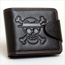 Men Boys One Piece Luffy Wallet Monkey D Luffy Straw Hat Pirates Anime Skull Wallet Purse Black PU Leather(China)