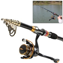 Sougayilang 2.1m-3.6m Spinning Telescopic Fishing Rod With 14BB Fishing Reel Carbon Fiber Travel Spinning Rods Combo Pole Set