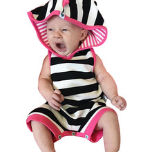 Baby Girls Romper Toddler Infantil Baby Boy Sleeveless Striped Hoodie Romper Outfits Clothes Baby Clothes Newborn Dropshipping(China)