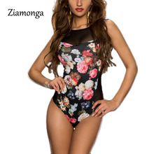 Ziamonga 2017 Fashion Rompers Womens Jumpsuit Printed Floral Sleeveless Women One Piece Sexy Slim Bodysuit Mesh Playsuits C2854(China)