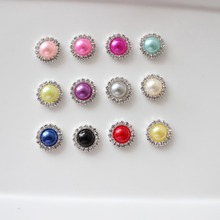 16mm pearl rhinestone button wedding embellishment headband DIY accessory flatback environmental protection plating 120pcs/lot