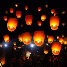 New 50 White Paper Chinese Lanterns Sky Fire Fly Candle Lamp Wish Party Wedding   GF28022