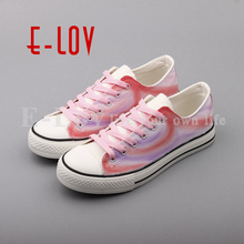 E-LOV High End Design Women Shoes Hand Painted Dream Graffiti Casual Canvas Flat Shoe Low Top Canvas Espadrilles(China)
