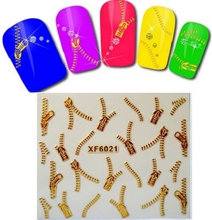 1pc Nail art 3D gold foil sticker Golden zipper sticker Harajuku short bride patch applique diy Nail Polish stickers nail tool(China)