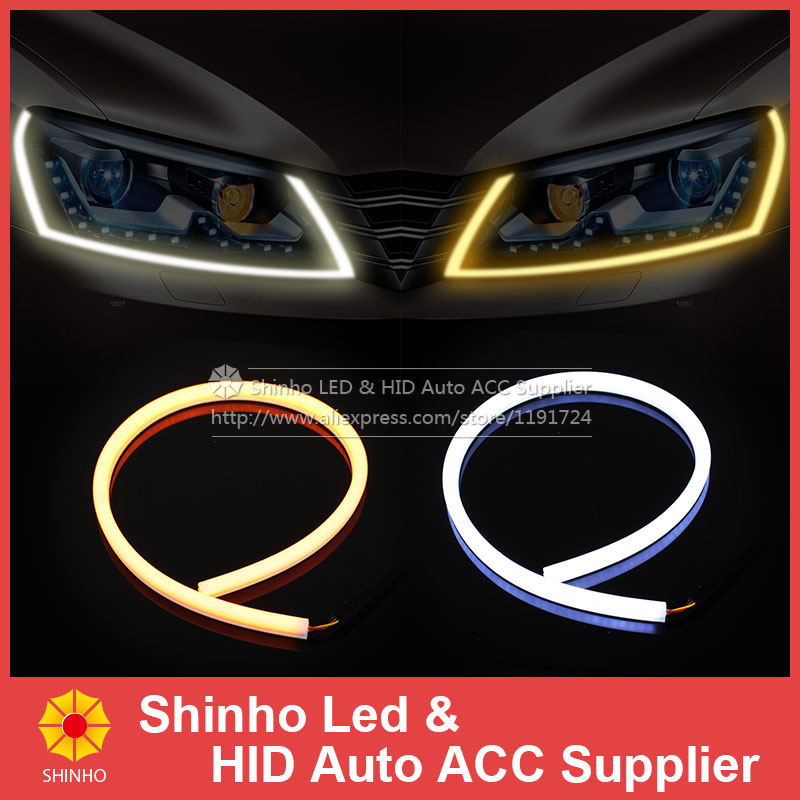 2pcs x 85CM High quality White Amber Yellow Blue Red Switchback LED Strip Flexible DRL Tube Car Headlight Daytime Running Lights<br><br>Aliexpress