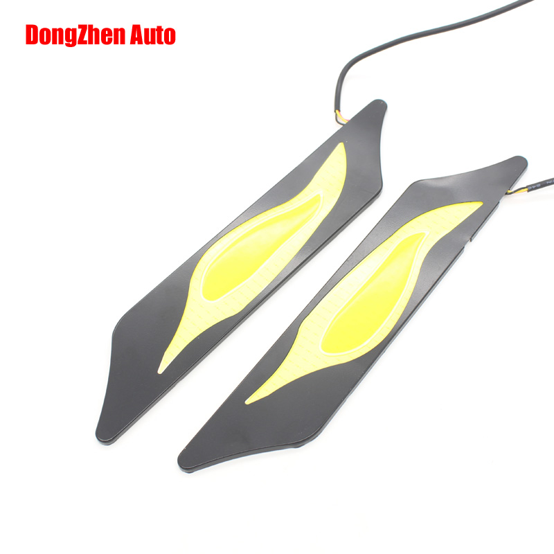 Newest Waterproof 76 White/56Yellow Car Head Light COB LED Daytime Running Lights DRL Fog Lights with Turn Signal<br><br>Aliexpress