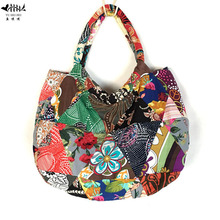 Unique Handmade Bags Women Shoulder Tote Bag Fashion Bohemian Patchwork Designer Lady Cotton Canvas Handbag Purse free shipping(China)