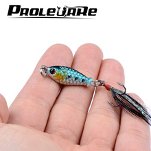 1pcs 4.6g swimbait Fishing Lure wobblers spinner metal lures vib Hard Baits With Feather Treble Hook spinnerbait fishing tackle(China)