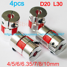 4pcs Jaw spider Shaft Coupler Flexible Coupling shaft 4/5/6/6.35/7/8/10mm D20 L30 CNC motor 3D printer(China)