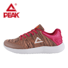 PEAK Running Shoes Women Outdoor Jogging Training Breathable Shoes Knit Light Running Shoes Laces Running Sport Shoes Woman
