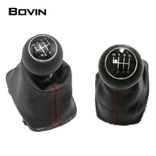 Black PU 5 /6 Speed Gear Shift Knob With Leather Gaiter Boot Cover For Audi A3 S3  2001 2002 2003 Car Styling 12mm Red Stitch