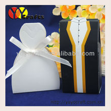 hot sell recycled materials white and black dress paper nice high quality reasonable price MOQ 300pcs wedding candy box(China)