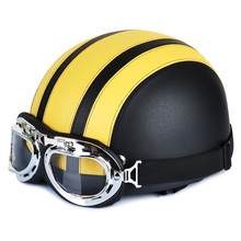 Hot Fashion Yellow Synthetic Leather Vintage Motorcycle Motorbike Scooter Cruiser Touring Open Face Half Helmets & Goggles&Visor