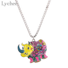 Lychee Trendy Alloy Coloful Enamel Animal Women Necklace Elephant Turtle Chihuahuas Female Necklace Jewelry(China)