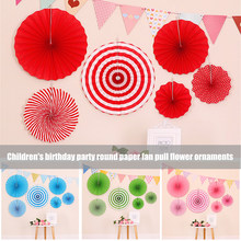 Newly Kids Birthday Prop Round Foldable Paper Fan + Triangular Flag Banner Party Background Decoration TE889(China)