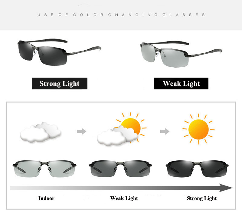 RoShari New photochromic Sunglasses men top quality All-weather Discoloration Professional driving Sun glasses men oculos D3043 3