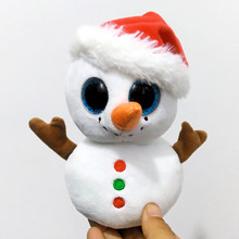 "6"" 15cm Ty Beanie Boos Scoop Snowman Plush Stuffed Animal Collectible Soft Big Eyes Doll Toy S144(China)"