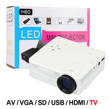 H80 Home Cinema Theater Multimedia LED Cheap Projector HD 1080P AV TV VGA USB HDMI White Free Shipping
