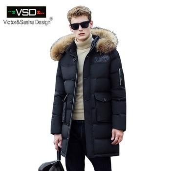 Victor & Sasha Design 2016 New Longo Inverno Para Baixo Jaquetas Espessamento Dos Homens Vestuário de Moda Casaco Com Capuz De Pele Parka macho Grande Casaco