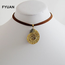 FYUAN Vintage Jewelry Natural Stone Fossils Double Choker Ocean Snails Pendant Necklaces Women Gift Collier