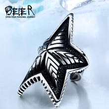 BEIER Big Pentacle Mens Boys 316L Stainless Steel Cool Punk Gothic Start 3D Design Factory Price Fashion Ring BR8-413