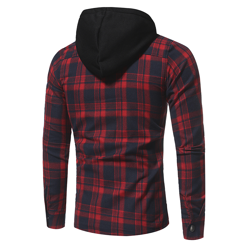 Plaid Shirt 2018 Autumn Fashion Shirts Men Casual Brand Clothing Men Shirt Long Sleeve Casual Lattice Hooded Camisa Social XXXL 5