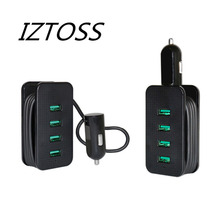 IZTOSS 4 USB Smart Port Car Charger Branch Adapter Cigarette Lighter With 1M Charging Cable Compatible to Your Loved Cell Phone(China)
