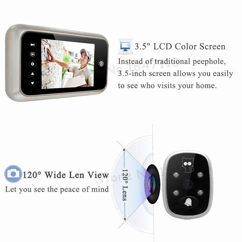"HTB16xl6cJHO8KJjSZFtq6AhfXXaf - New 3.5"" LCD Color Screen Electronic Door Bell Viewer IR Night Door Peephole Camera Photo/Video Recording Digital Door Camera"