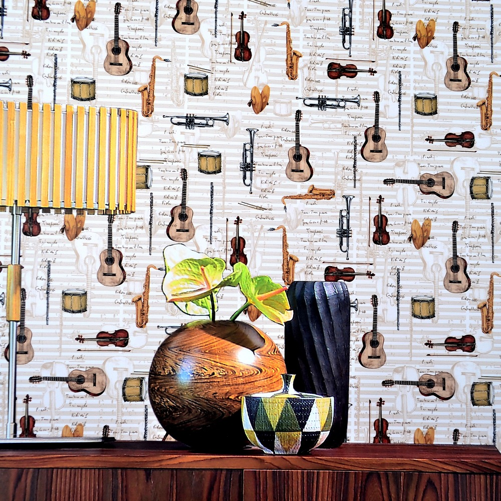 Instrument music note retro vintage kids wallpaper for walls<br>