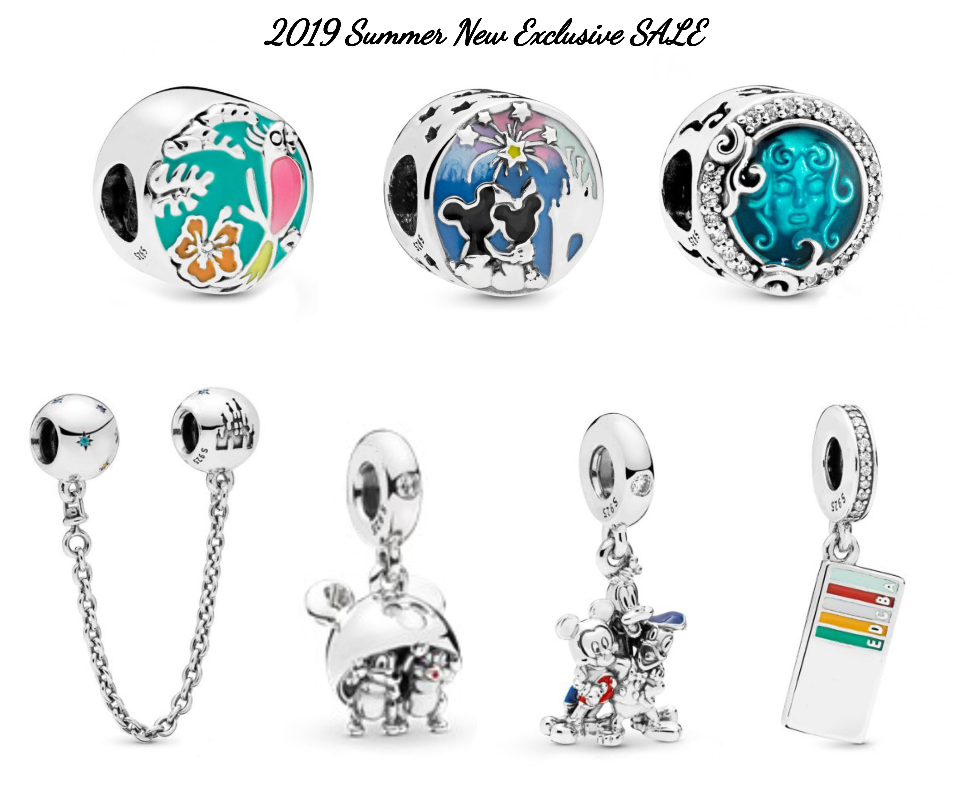 Summer Style 925 Sterling Silver Travel the World CZ Charm Bead with Blue Enamel