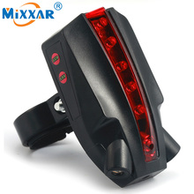 RU 5 LED 2 Laser Bicycle Bike Logo Intelligent Rear Tail Light Safety Lamp Super Cool Night Smart Cycling Red Light Waterproof(China)