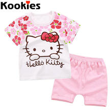 2017 Baby Girls Hello Kitty Clothing Sets Summer Baby Boys Short Sleeves T-shirt+Boys Shorts Kids Suits Cartoon Wear KST005
