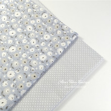 50*160cm grey floaral and dot patchwork dress cloth cotton fabric, tablecloth infant robe and baby bed fabric(China)