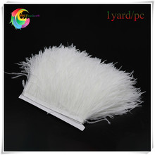 1yard/lot cheap ostrich feather fringe trims bleached white natural ostrich feather trimming for skirt costume dress