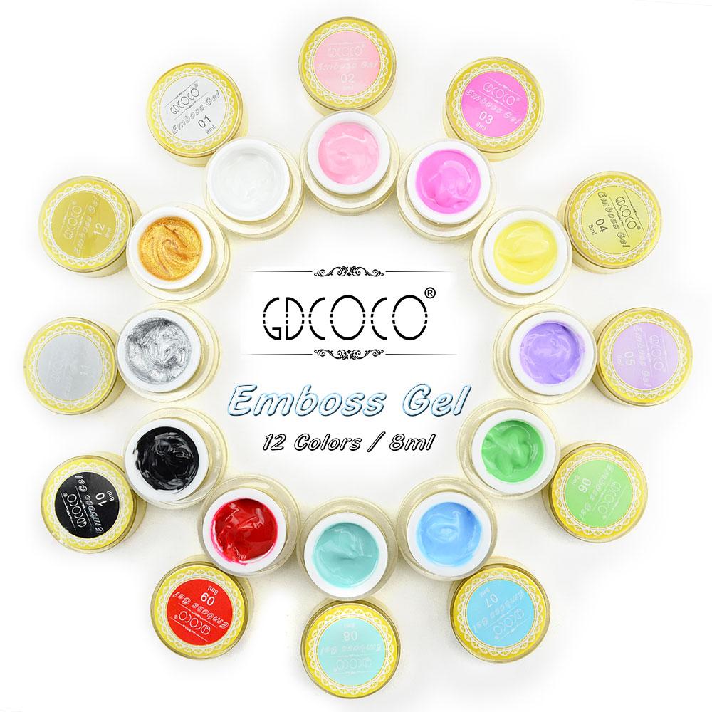 GDCOCO Emboss Gel Kit Nail Art 3D/4D Gel 12 Colors Nail Art Design 8ml Soak Off UV/LED Nail Gel<br>
