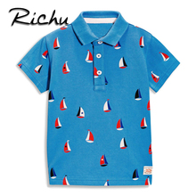 Richu summer fashion style stars green soccer solid short sleeve kids boys polo shirts child turn-down collar polos for boys(China)