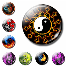 Dragon Yin-Yang Fire 30 MM Fridge Magnet Astrology Flower Tiger Glass Dome Magnetic Refrigerator Stickers Note Holder Home Decor(China)