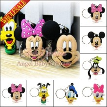 Hot 100Pcs/Lot Mickey Minnie Key Chains PVC Pendants Accessory Small figure necklace Cellphone Pendants Charms Kids Toy Gift