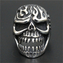 3pcs/lot Fast Shipping Size 7-13 Fire Flam Skull Ring 316L Stainless Steel Cool Popular Ghost Skull Ring(China)